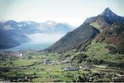 Ansicht des Talkessels in Richtung See mit Visualisierung des Turms. (Bild: pd)