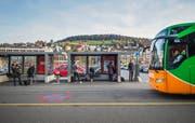 Ein Flixbus macht Halt am Hauptbahnhof in St. Gallen.Bild: Ralph Ribi/SGT (3. November 2016)