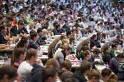 Blick in den grossen Hörsaal der Universität St. Gallen. (Bild: Keystone / Gaetan Bally)