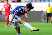 Jahmir Hyka trifft im Testspiel gegen den FC Schötz zweimal. (Archivbild Keystone / Urs Flüeler)