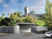Der Eingang des Parkhauses Musegg in einer Visualisierung. Bild: PD