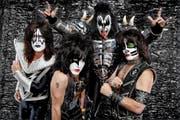Scheinbar alterslose Rockstars, natürlich nicht zuletzt dank der Schminke: Kiss mit Tommy Thayer, Paul Stanley, Gene Simmons und Eric Singer (v. l.). (Bild: PD)