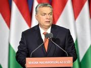 """""""Ungarn first"""": Ungarns Regierungschef Viktor Orban kritisierte in einer Rede zur Lage der Nation einmal mehr die Einwanderungspolitik in der EU. (Bild: KEYSTONE/EPA MTI/ZOLTAN MATHE)"""