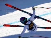 Sturz mit Folgen: Priska Nufer brach sich auf der Abfahrtsstrecke in Val d'Isère die Nase (Bild: KEYSTONE/AP/GIOVANNI AULETTA)