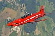 Könnte bald in Frankreich für Trainingsflüge genutzt werden: der Pilatus PC-21.Bild: Major Andri Spinas/VBS (Sion, 12. Juli 2011)