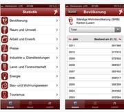 Die Statistik-App zeigt unter anderem Infos zur Bevölkerung im Kanton Luzern. (Bild: Screenshot)