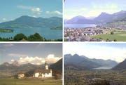 Tolles Sommerwetter (von oben links, im Uhrzeigersinn): Hergiswil, Ennetbürgen, Schwyz und Seelisberg. (Bilder Webcams)