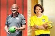 Damian Gwerer, Trainer von LK Zug, und Caro Emmenegger, Assistenztrainerin bei Spono Nottwil. (Bild: Eveline Beerkircher/Philipp Schmidli / Neue LZ)