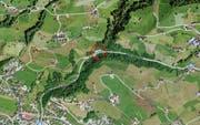 In diesem Bereich wird der Durchlass des Chefibachs in Oberägeri erneuert. (Bild: Screenshot maps.serach.ch)