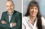 Peter Rüfenacht (Kandidat FDP) und Sandra Gerber (Kandidatin CVP). (Bilder PD)