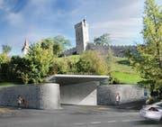 Ursprüngliche Visualisierung der Einfahrt zum Parkhaus Musegg. (Bild: PD)