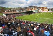 Das neue Kleinfeld soll auch variabel sein. Beim Cup-Halbfinal im April 2010 wurden Extra-Tribünen errichtet. (Bild: Philipp Schmidli / Neue Luzerner Zeitung)