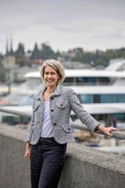 CVP-Stadtratskandidatin Franziska Bitzi Staub auf dem Luzerner Werftsteg. (Bild Pius Amrein)