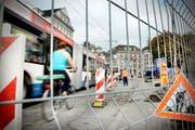 Die Baustelle beim Schwanenplatz. (Bild Pius Amrein/Neue LZ)