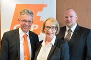 Sie wurden für die Liste der Nationalratswahlen nachnomminiert: (von links) Norbert Schmassmann, Ottilia Scherer, Christian Ineichen. (Bild: PD)