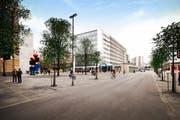 Zuger Stadttunnel: An der Baarerstrasse soll für 3,5 Millionen Franken eine Einkaufsmeile entstehen. (Bild: PD)