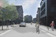 Im Chamer Zentrum (Bild in Blickrichtung Rabenkreisel) sollen Radfahrer und Fussgänger dereinst mehr Platz haben. (Bild: Visualisierung: PD)
