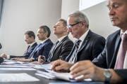 Die Luzerner Regierung, hier bei der Präsentation des Budget 2017 (von links): Reto Wyss, Guido Graf, Marcel Schwerzmann, Robert Küng und Paul Winiker. (Bild: Nadia Schärli (Luzern, 28. Juni 2017))