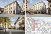 So könnten (von unten links im Uhrzeigersinn) die südliche Burgerstrasse, Bahnhofstrasse und Zugang Franziskanerplatz sowie der Philipp-Anton-von-Segesser-Platz mit Natursteinen künftig aussehen. (Bilder PD)