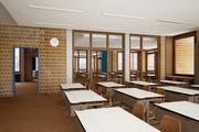 Es sollen helle, moderne und multifunktionale Unterrichtsräume, wie in der Visualisierung gezeigt, entstehen (Bild: Visualisierung PD)