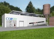 Die Visualisierung zeigt, wie die Kraftwerks-Zentrale im Chlusboden, Gemeinde Schüpfheim, dereinst aussehen könnte. (Bild: PD / CWK)