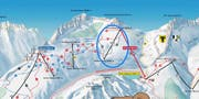 Ausschnitt aus der Skiarena Andermatt-Sedrun mit der neuen Sesselbahn Schneehüenerstock (blau eingekreist). (Bild: PD)