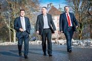 Die Regierungsvorsteher plädierten für mehr Zusammenarbeit: von links der Zuger Beat Villiger, der Aargauer Alex Hürzeler und der Luzerner Guido Graf. (Bild Roger Grütter)