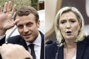 Sie treffen in der Stichwahl um das französische Präsidentenamt aufeinander: Der Parteilose Emmanuel Macron und die Front-National-Chefin Marine Le Pen. (Bilder: Keystone)
