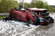 Das Bild zeigt eines der Unfallautos. (Bild: Luzerner Polizei)