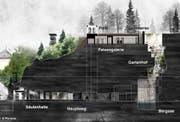 Im Fels entsteht ein neuer Erlebnisrundgang: So soll der Gletschergarten ab 2017 aussehen. (Bild: Visualisierung Miller & Maranta, Basel)