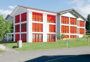 Die Westansicht des geplanten Erweiterungsbaus für das Schulhaus Gross. (Bild: Visualisierung: Bezirk Einsiedeln)