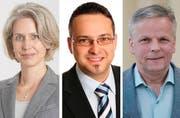 Sie treten am 27. November an: Franziska Bitzi (CVP), Thomas Schärli (SVP) und Rudolf Schweizer (parteilose Schweizer). (Bilder PD / LZ)