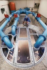 Die Zuger Trinkwasserqualität ist sehr hoch. Das Bild zeigt das WWZ-Grundwasserpumpwerk in Oberwil. (Archivbild: Christine Benz (3. Juli 2014))