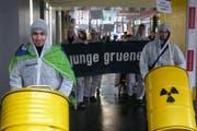 Mitglieder und Sympatisanten der Partei bei ihrer Demonstration in Luzern. (Bild: pd)