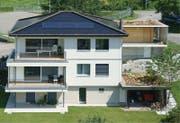 Doppeleinfamilienhaus in Uffikon nach der Sanierung (Bild: PD / Solarpreis 2015)