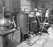 Brennerei Josef Nussbaumer-Landolt an der Ägeristrasse 40 in Zug, 1918–1931: Nussbaumer kaufte die Brennerei 1918 von Caspar Keiser ab. (Bild: Landwirtschaftliches Bildungs- und Beratungszentrum Cham)