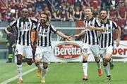 Juve-Jubel auch heute gegen Real Madrid? Von rechts: Leonardo Bonucci, Stephan Lichtsteiner, Andrea Pirlo und Angelo Ogbonna. (Bild: Freshfocus)