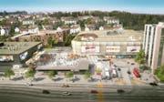 Eine neue Visualisierung der Mall of Switzerland zeigt das Shoppingcenter (Mitte), das Multiplex-Kino (links) und ein Büro- oder Hotelgebäude (rechts). (Bild: PD)