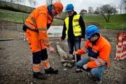 Michael Sauder (v. l.), Cardin Pinggera und Claudio Canassi neben der Bohrmaschine, die am 16. Februar am Sonnenberg den Durchstich für die neue Quellwasserleitung geschafft hat. (Bild: Nadia Schärli / Neue LZ)