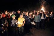 Sternmarsch gegen den Auenschutz in Giswil im vergangenen Dezember. (Bild Romano Cuonz)
