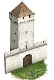 So hat der Pulverturm auf Grund von archäologischen Erkenntnissen kurz nach der Erstellung - also Ende des 14. Jahrhunderts - ausgesehen. (Bild: pd)