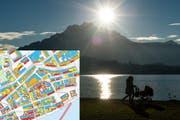 Der Solarkataster des Kantons Luzern zeigt, welche Gebäude sich am besten eignen für eine Solaranlage. (Bild: Pius Amrein / GIS Kanton Luzern)