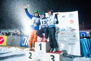 Die drei Schnellsten: 1. Urs Kälin (Mitte), 2. Marc Girardelli (links), 3. Brigitte McMahon. (Bild: Roger Gruetter / Neue LZ)