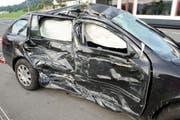 Der in den Unfall involvierte Wagen. (Bild: Luzerner Polizei)