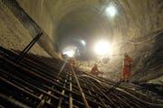 Impression von den Bauarbeiten im Weinbergli-Tunnel. (Bild SBB/pd)
