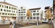 So stellen sich die Planer den neuen Dorfplatz in Ruswil vor. (Bild: Visualisierung: Studio 12 GmbH)
