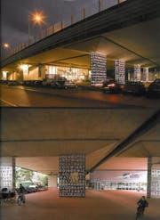 So könnte es dereinst unter der Autobahn beim Bypass-Südportal in Kriens aussehen. (Bild: Visualisierungen PD)