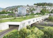 So stellt sich der Bund das Bypass-Tunnelportal in Kriens vor. Die Gemeinde fordert eine längere Überdachung. (Bild: Visualisierung PD)