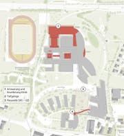 Die geplanten Teilprojekte in der Übersicht: 1: Erneuerung und Erweiterung der Klinik 2: Tiefgarage 3: Passerelle SHS - GZI (Bild: PD)