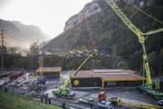 Blick auf die Talstation beim Schlattli im Muotathal. (Bild: Urs Flüeler / Keystone (Schwyz, 12. Oktober 2017))